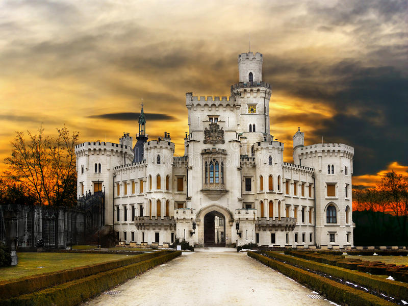 Castle Hluboka Landmark Fairytale Attraction. The white castle - Hluboka is one of the most popular fairytale castles in Bohemia. Landmark, Czech Republic stock photography