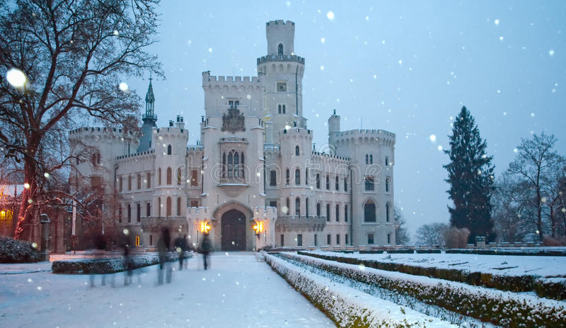 Castle of Hluboka nad Vltavoy at winter royalty free stock photography
