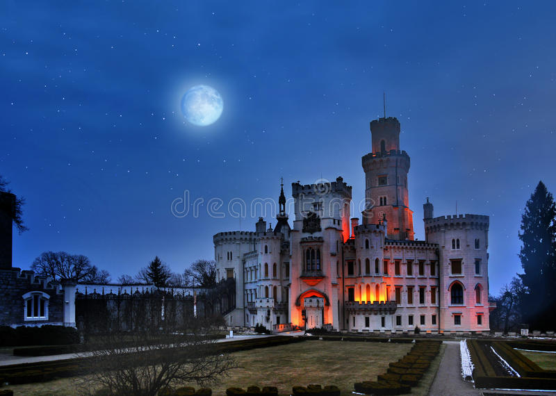 Castle Hluboka, Prague Czech republic. The Castle Hluboka night view - one of the most popular fairytale castles in Czech Republic royalty free stock photo