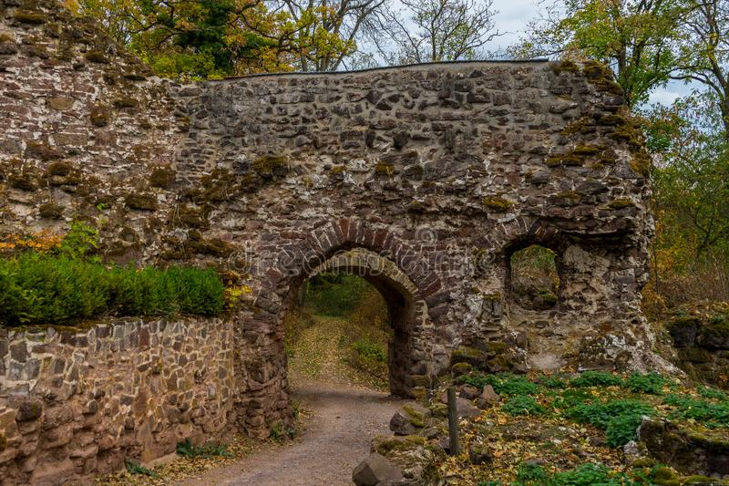 Castle Hohnstein ruins in the german region called Harz royalty free stock images