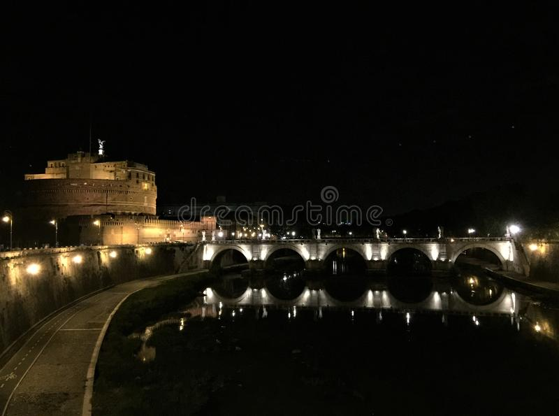 Castle of the Holy Angel. The Mausoleum of Hadrian, usually known as Castel Sant`Angelo Italian pronunciation: [kaˈstɛl sanˈtandʒelo]; English stock photography