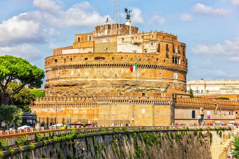 Castle of the Holy Angel, the mausoleum of the Roman Emperor Hadrian, Rome, Italy.  stock image