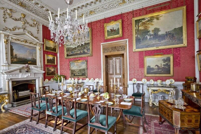 Castle Howard Crimson Dining Room royalty free stock photography