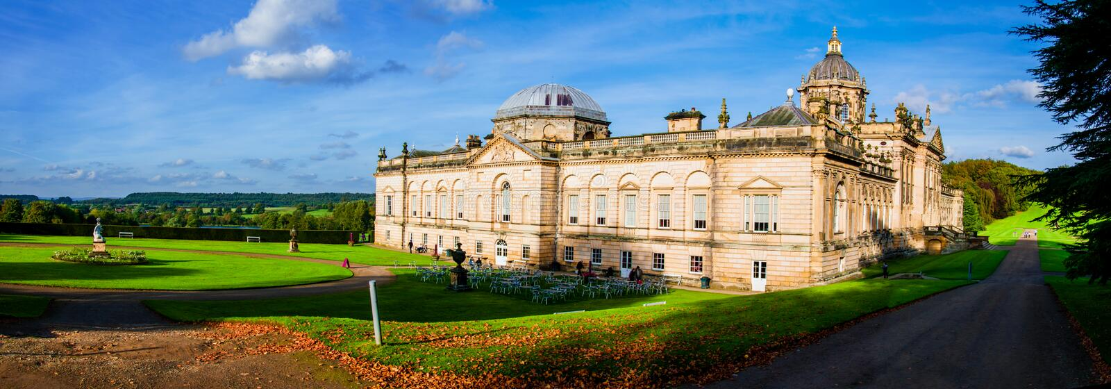 Castle Howard, North Yorkshire, UK. United Kingdom, North Yorkshire - October 5, 2014: Castle Howard is a famous stately home for Brideshead remake being filmed stock photos