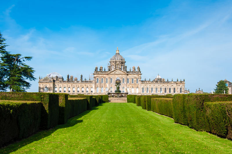 Castle Howard, North Yorkshire, UK. United Kingdom, North Yorkshire - October 5, 2014: Castle Howard is a famous stately home for Brideshead remake being filmed royalty free stock photography