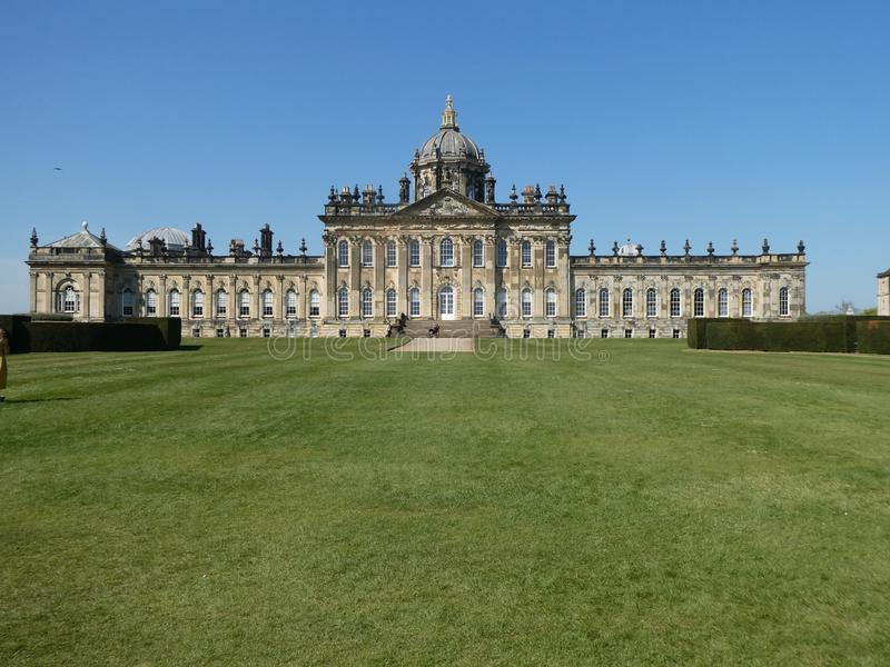 Castle Howard in the sun. Castle Howard on a warm April day. With the sun on it, highlighting the Architecture stock images
