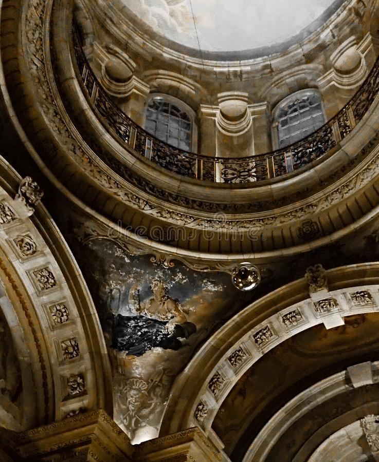 Castle Howard. The upper balcony in the great hall at Castle Howard. The close crop image provides a nice circular effect in deep rich colours royalty free stock images
