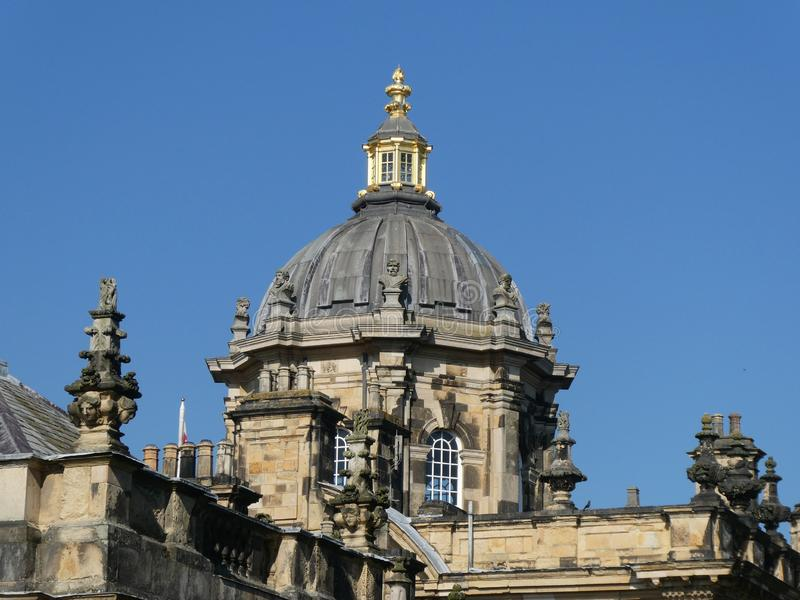 Castle Howard in the sun. Castle Howard on a warm April day. With the sun on it, highlighting the Architecture stock photography