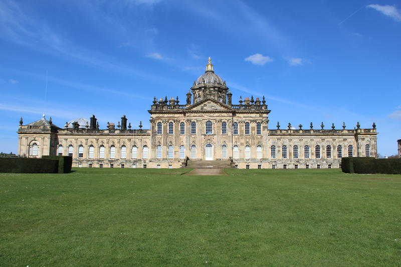Castle Howard, Yorkshire County, England. With blue skies royalty free stock images