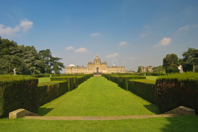 Castle Howard Yorkshire. Looking across the grass and gardens to Castle Howard royalty free stock photo