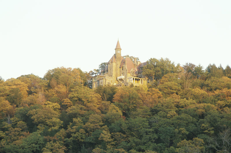 Castle on the Hudson River. In autumn, Hudson Valley, NY stock image