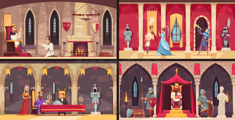 Castle Interior Concept. 4 flat scenes set with king dining hall throne and ballrooms isolated vector illustration royalty free illustration