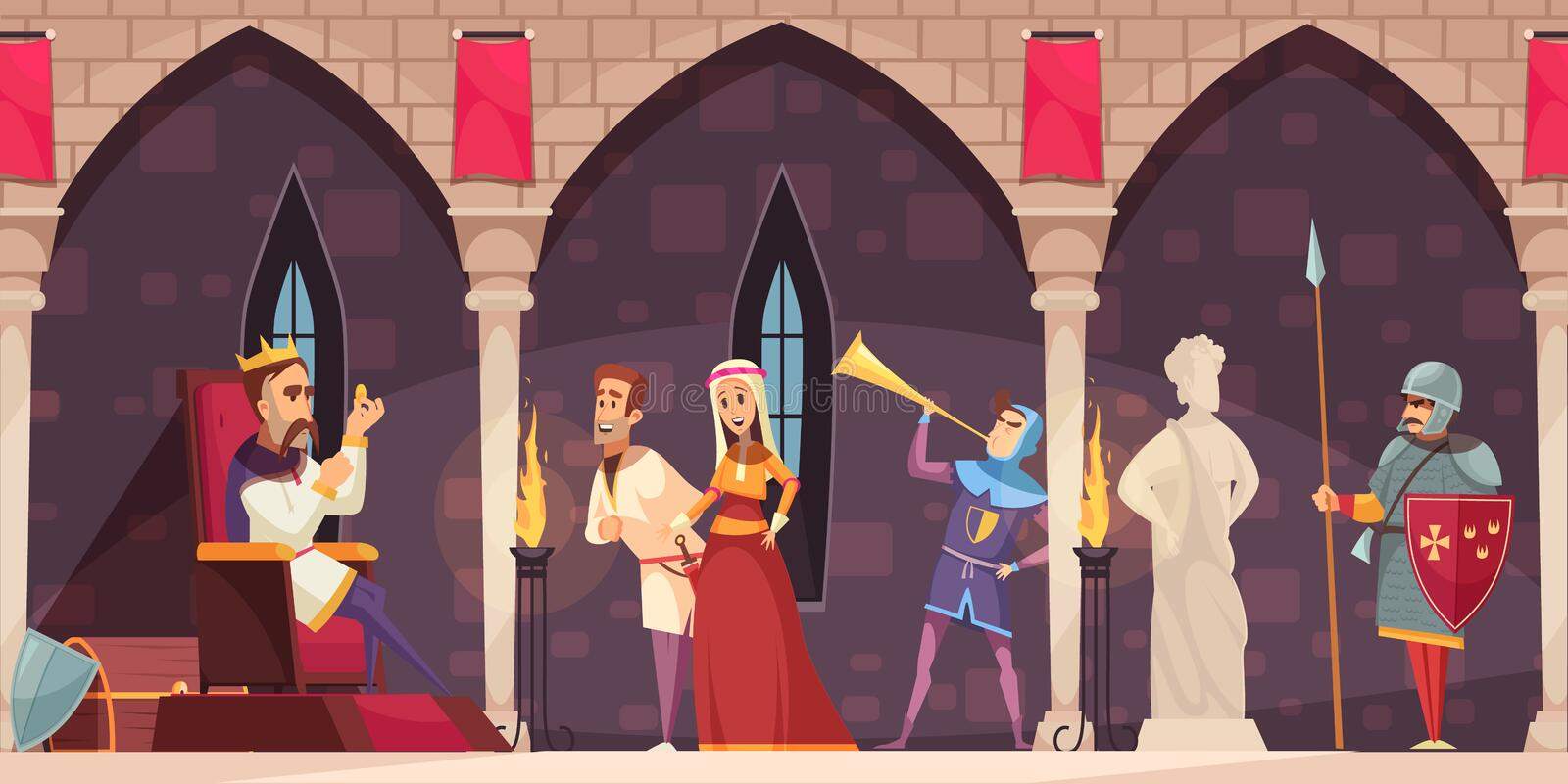 Castle Interior People Banner vector illustration