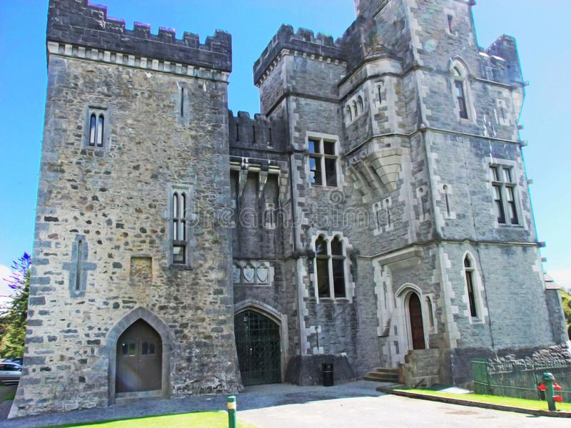 Ashford Castle Co Mayo in Ireland. On a lake in Cong royalty free stock images