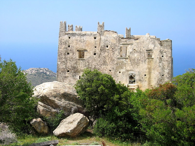 Castle on the island of Naxos. A ruined castle on the island of Naxos in Greece stock photos