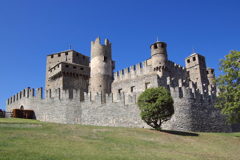 Castle in Italy, Aosta stock photography