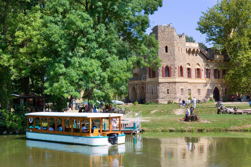 Castle Januv hrad, Lednice park (UNESCO), Czech republic. LEDNICE, CZECH REPUBLIC - JULY 05, 2014: gothic ruins of Januv hrad in the park, Lednice-Valtice royalty free stock photos
