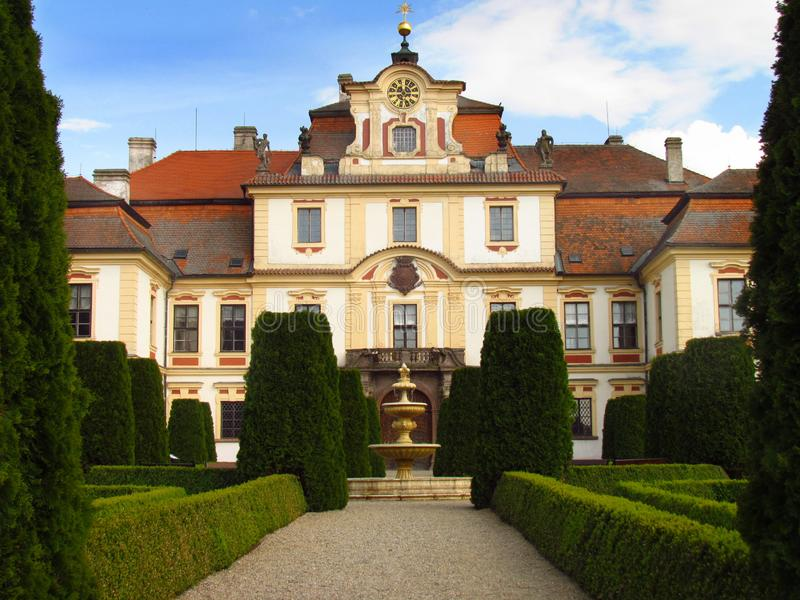 Castle Jemniste, Baroque castle in Bohemia, cultural heritage. In Czech Republic royalty free stock photography
