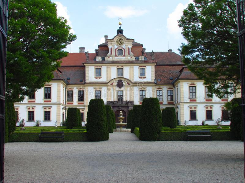 Castle Jemniste, Baroque castle in Bohemia, cultural heritage. In Czech Republic royalty free stock images