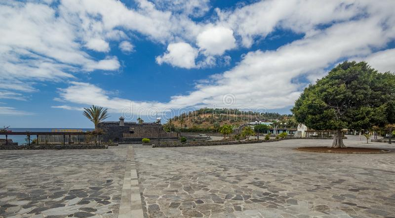 Castle of John Baptist also called Black Castle. Sunny day with Bright blue sky and fluffy clouds. Wide angle shot. Santa Cruz de stock photos