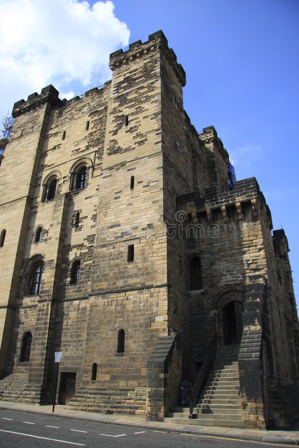 The Castle Keep. At Newcastle upon Tyne, North East England. Built by Henry II between 1168-1178. But now in the process of being renovated - as can be seen by stock image