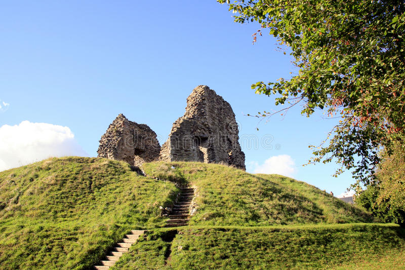 Castle Keep, Christchurch. The ruins of the castle keep on a knoll at Christchurch, Dorset, England, UK royalty free stock photography