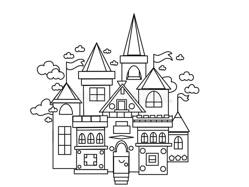 Castle kingdom kids and adults coloring pages royalty free illustration