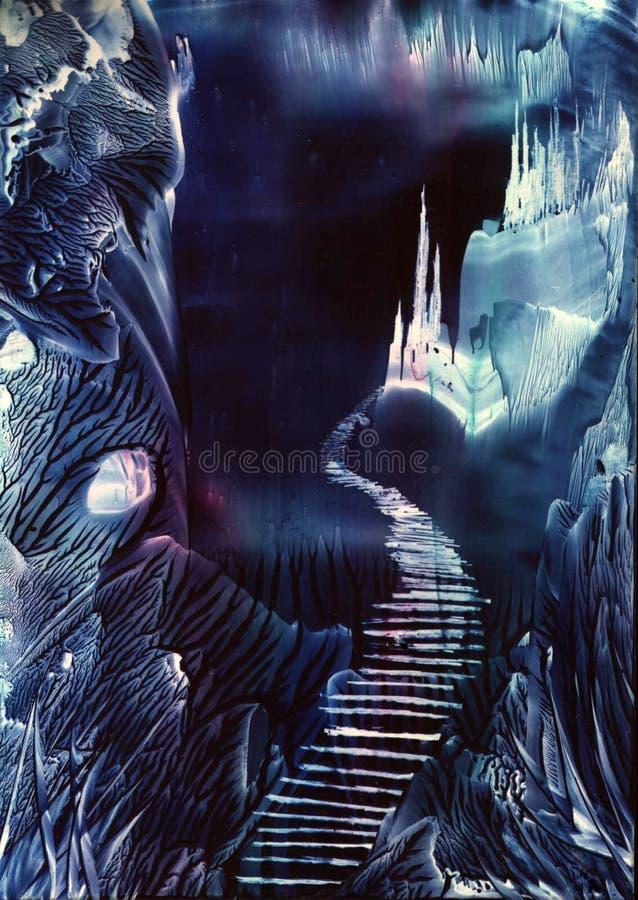 castle krystalicznego tajemniczego lasu bliźniaczki ilustracja wektor