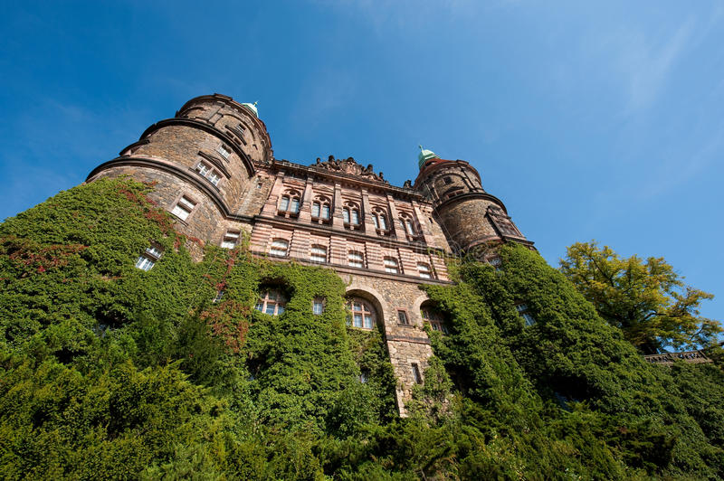 Castle Ksiaz. The south face of Castle Ksiaz in Walbrzych, Poland royalty free stock photo