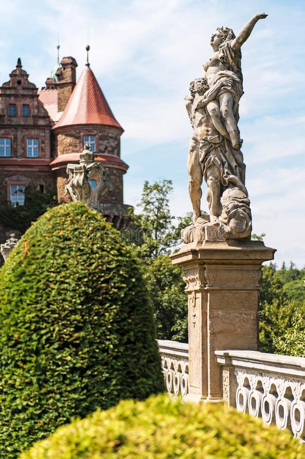 Castle Ksiaz in Walbrzych, in Poland. Medieval European Polish Castle. Castle Ksiaz near Walbrzych, Poland, Europe royalty free stock photo
