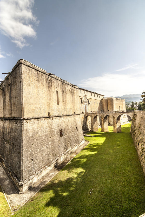 Castle of L'Aquila. L'Aquila (Abruzzi, Italy) - Historic castle with bridge and moat stock photography