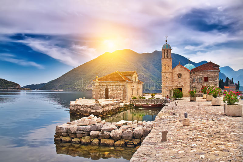 Castle on the lake in Montenegro royalty free stock image