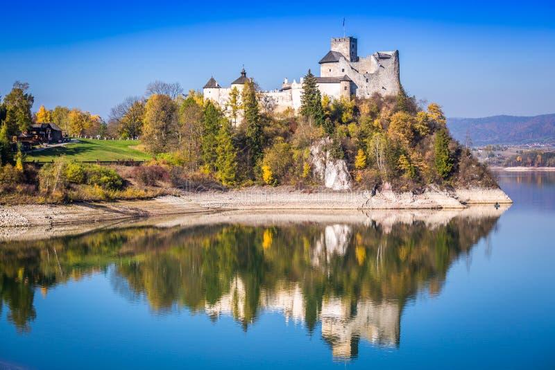 Castle on the lake in Niedzica, Poland.  stock image