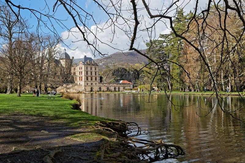 Chateau de Vizille Park, Swan Lake, Vizille, Isere, French