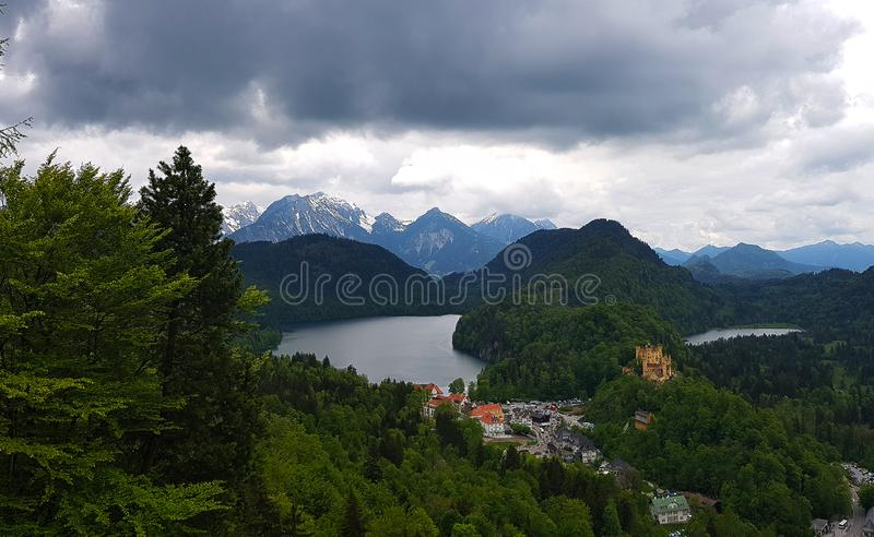 Castle and Lake View in Bavarian Alps stock photo