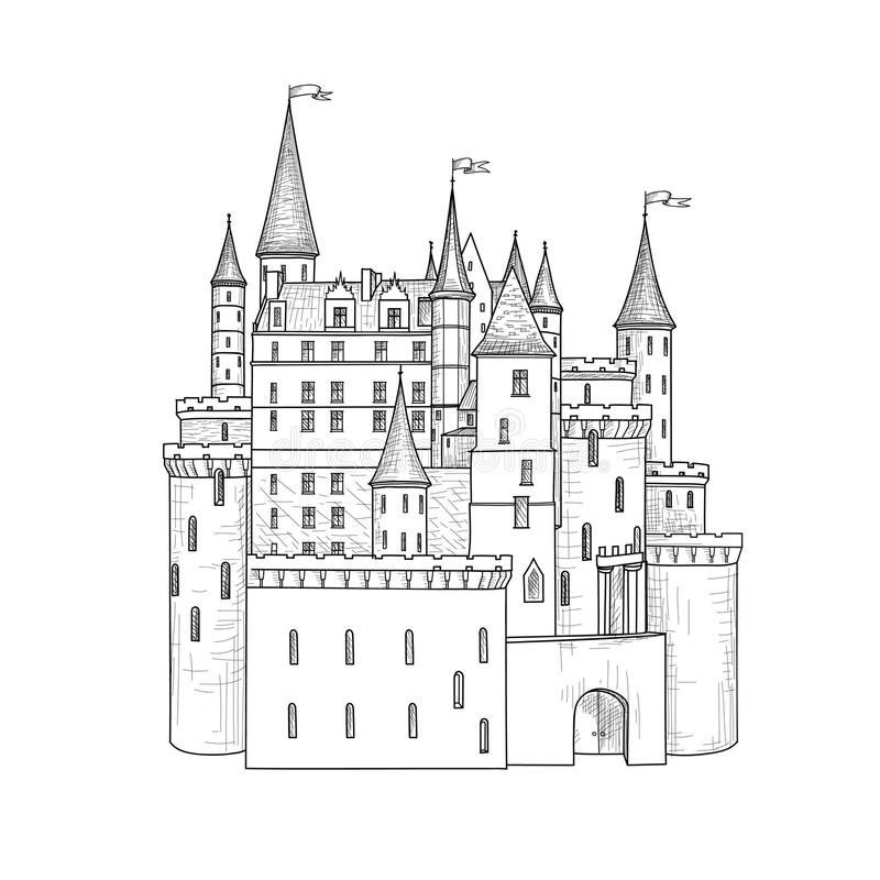 Castle landmark sketch illustration. Medieval palace building. With towers and flags. Invented european castle isolated for tail illustration stock illustration