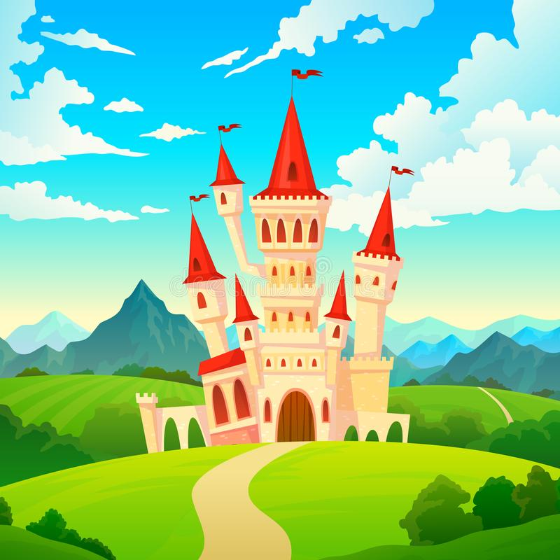 Castle landscape. Palace fairytale kingdom magical towers medieval mansion castles hill forest green mountain cartoon vector illustration