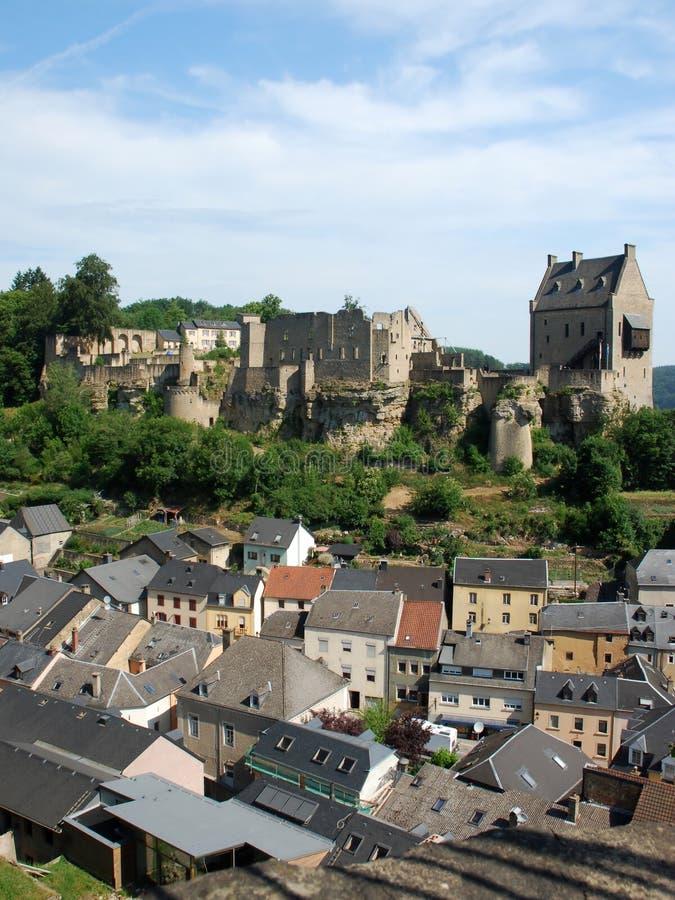 Luxembourg - ruins of medieval Castle Larochette - Larochette. View on the castle ruins of medieval Château - de Larochette high above the town of Larochette stock images