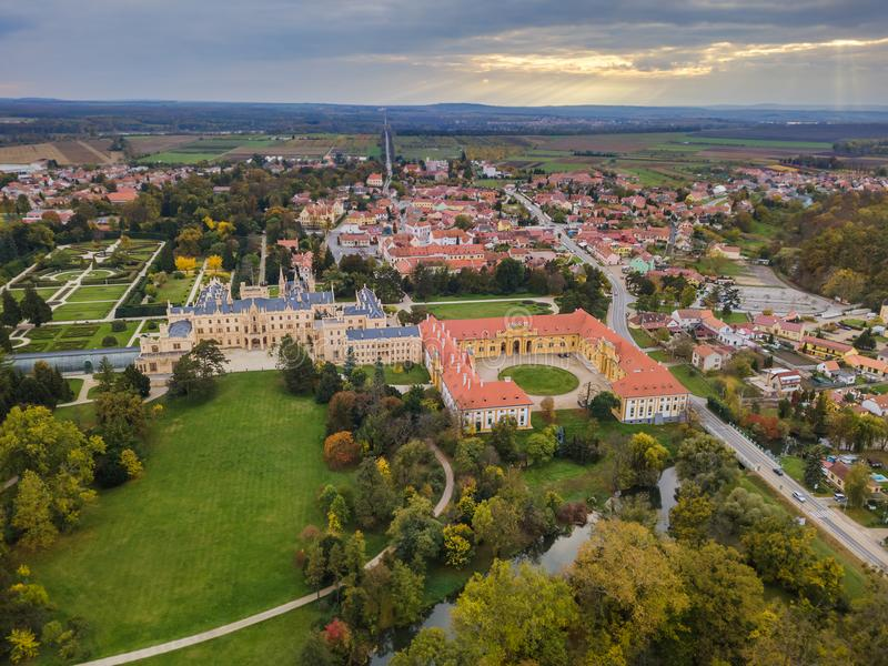 Castle Lednice in Czech Republic - aerial view. Travel and architecture background royalty free stock images