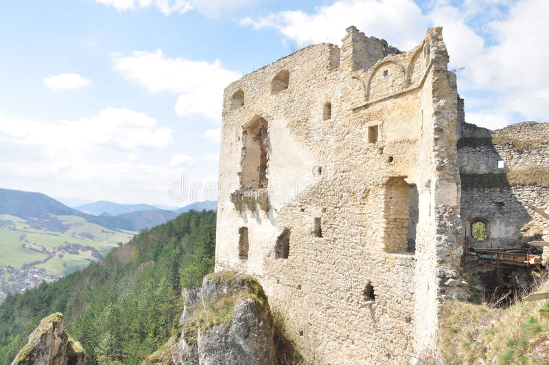 Castle Lietava Slovakia. Sideview Vyhliadka z Lietavskeho Hradu, Slovensko royalty free stock photography