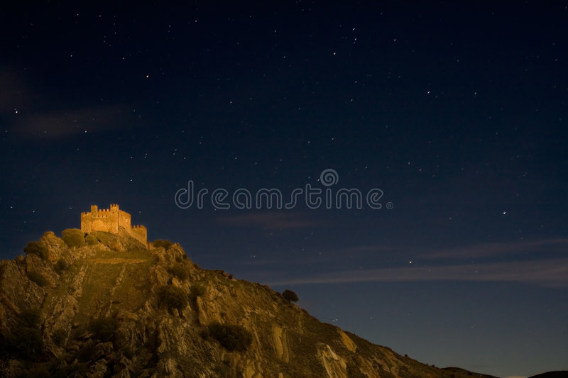 Castle of light. Castle at Guadalajara, at 1:05AM, without any natural light. Painted with a lantern royalty free stock image