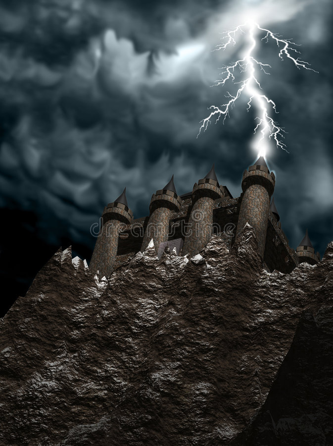 Castle_lighting1 royalty-vrije illustratie