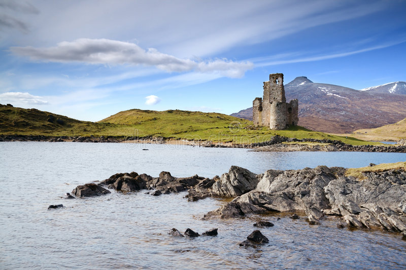 Castle on loch. Ardvreck Castle on the shore of Loch Assynt, Scotland royalty free stock photos