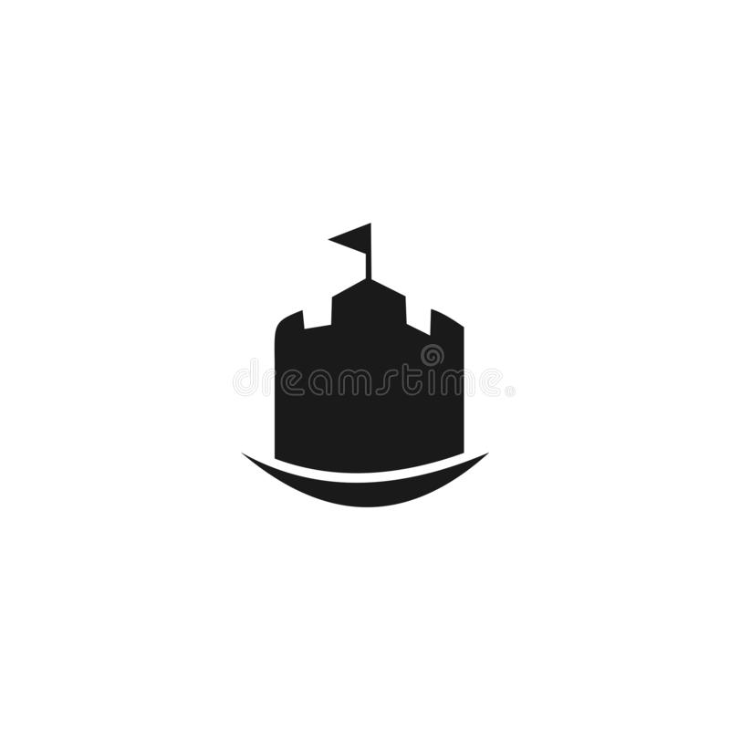 Castle logo template, building logo design vector. Line, ancient, horn, architecture, black, board, brick, buffalo, chess, clean, clever, confident, creative royalty free illustration
