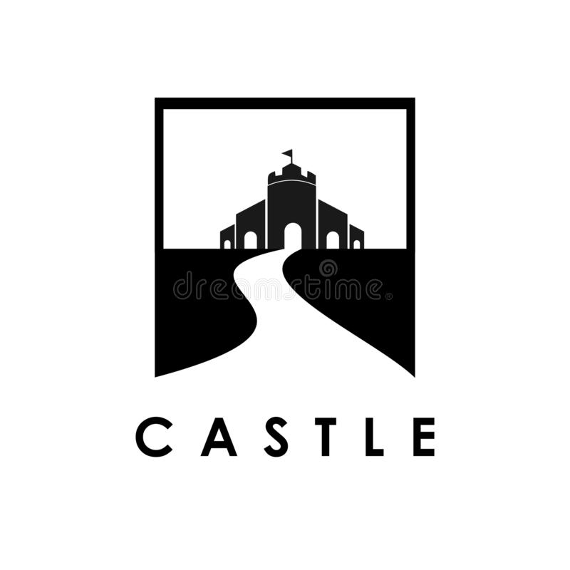 Castle logo template, design vector icon illustration. Tower, fortress, symbol, building, medieval, defense, company, abstract, wall, real, business, shield royalty free illustration