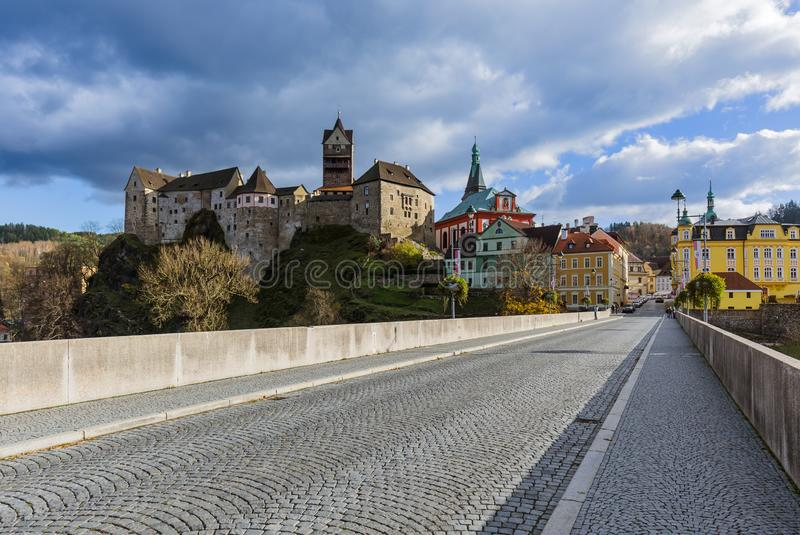 Castle Loket in Czech Republic. Travel and architecture background stock photography