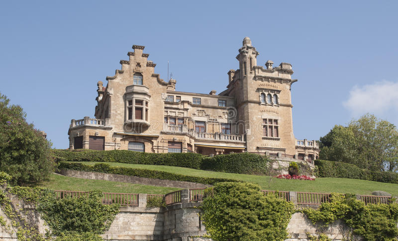 Castle look a like house in Getxo, Bilbao Spain. Private castle look a like house in Getxo in Bilbao, Spain royalty free stock photography