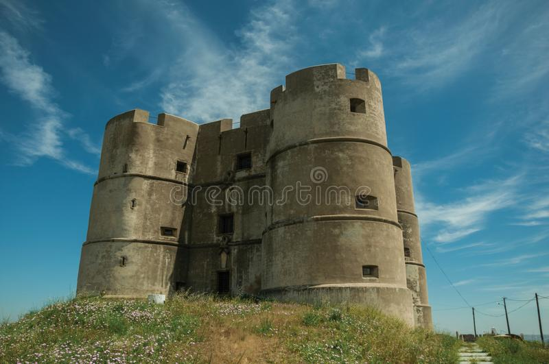Castle made in the Manueline style at Evoramonte royalty free stock photo