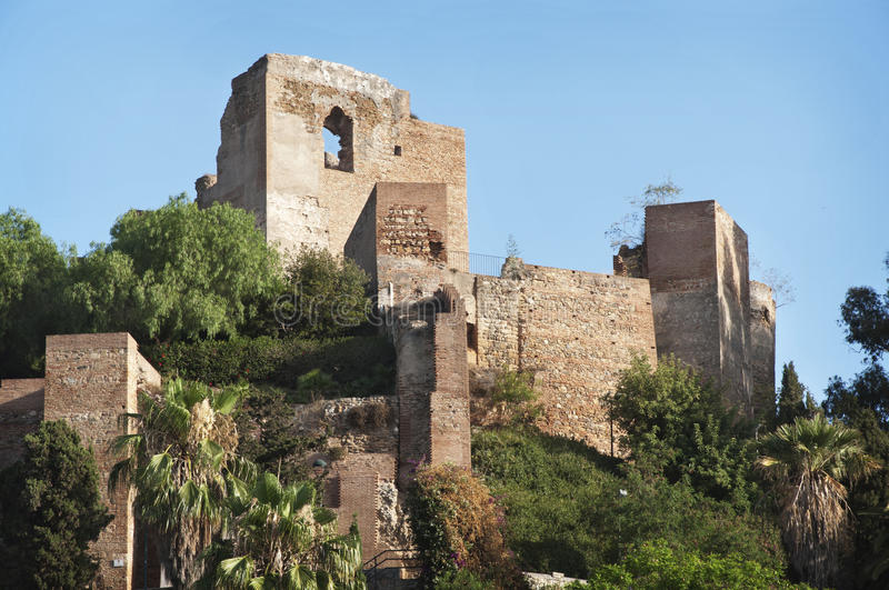 Castle of Malaga. Close-up of the ruins of the castle of Malaga stock photography