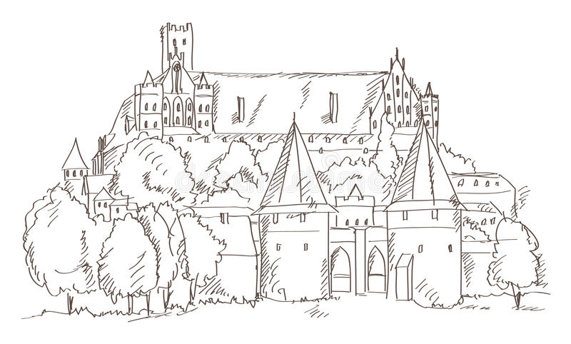 Castle Malbork in Poland hand drawing stock illustration